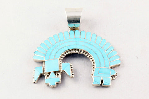 Zuni Channel Inlay Turquoise Rainbow God Pendant by Fadrian Bowannie - Turquoise Village - 1