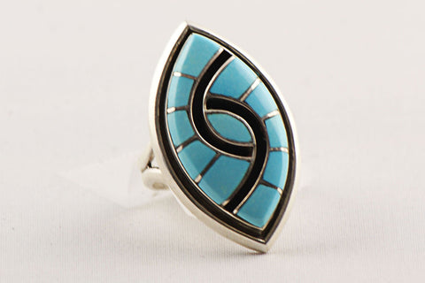 Zuni Channel Inlay Turquoise Ring by Amy Wesley - Turquoise Village