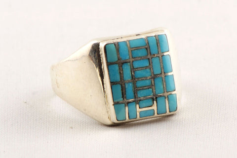 Zuni Channel Inlay Turquoise Ring by Sheldon & Nancy Westika - Turquoise Village