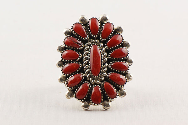 Mother Of Pearl >> Zuni Clusterwork Red Coral Ring by Lorraine Waatsa ...