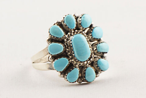 Zuni Clusterwork Turquoise Ring by Marie Besselente - Turquoise Village