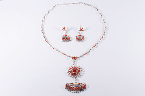 Zuni Coral Needlepoint Necklace and Earring Set by Bryant Waatsa Jr. - Turquoise Village