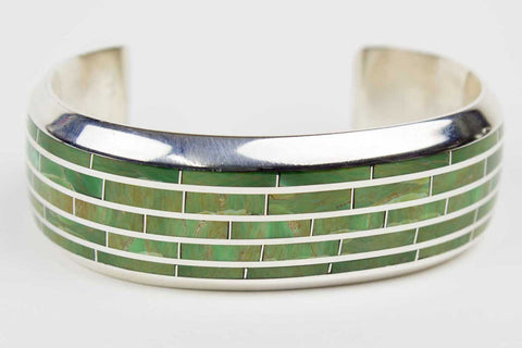 Zuni Green Turquoise Channel Inlay Bracelet by Larry Loretto - Turquoise Village - 1