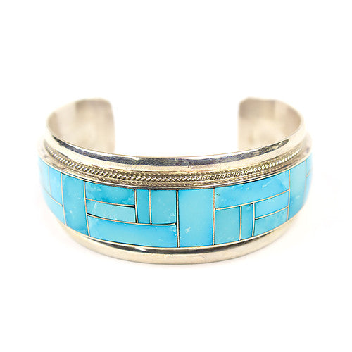 Zuni Sleeping Beauty Turquoise Channel Inlay Bracelet By Rickel Booqua Turquoise Village