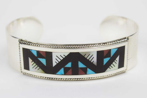Zuni Inlay Bracelet by Leander & Lisa Othole - Turquoise Village - 1