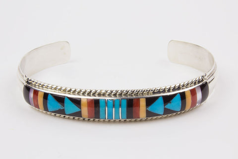 Zuni Inlay Bracelet by Rebecca Sheyka - Turquoise Village - 1