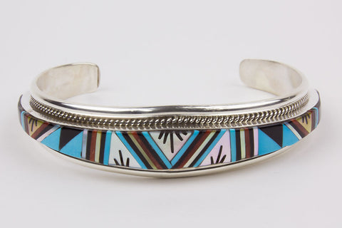 Zuni Inlay Bracelet by Rydell Yuselew - Turquoise Village - 1