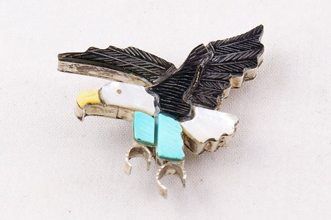 Zuni Inlay Eagle Pin and Pendant by Stephen Lonjose - Turquoise Village - 1