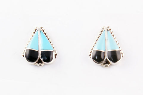 Zuni Inlay Inlay Turquoise and Jet Post Earrings by Gina Posedo - Turquoise Village