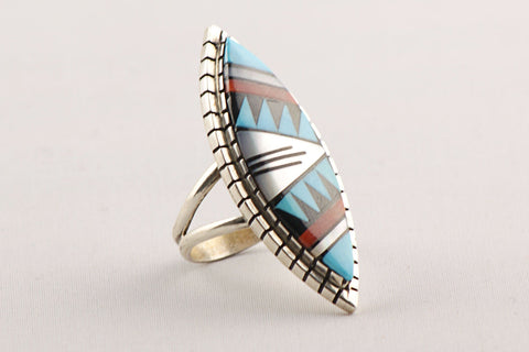 Zuni Inlay Ring by Viola Eriacho - Turquoise Village