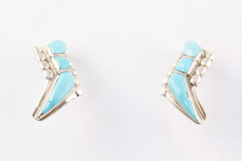 Zuni Inlay Turquoise Post Earrings - Turquoise Village