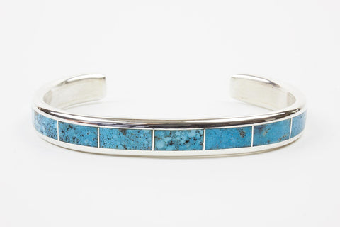 Zuni Morenci Turquoise Inlay Bracelet by Larry Loretto - Turquoise Village - 1