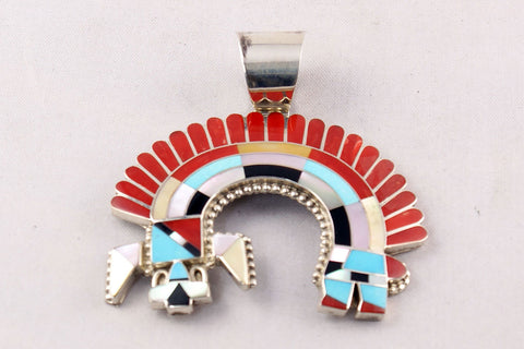 Zuni Multistone Channel Inlay Rainbow Man Pendant by Fadrian Bowannie - Turquoise Village - 1