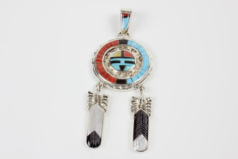 Zuni Multistone Channel Inlay Sunface Pendant by Don Dewa - Turquoise Village - 1