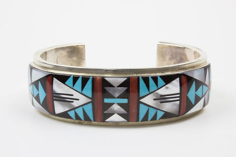 Zuni Multistone Geometric Inlay Bracelet by Don & Viola Eriacho - Turquoise Village - 1
