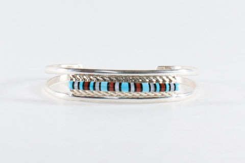 Zuni Multistone Inlay Bracelet by Victor Martza - Turquoise Village - 1