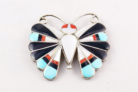 Zuni Multistone Inlay Butterfly Pin and Pendant by Sara Edaakie - Turquoise Village - 1