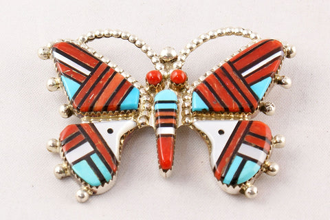 Zuni Multistone Inlay Butterfly Pin and Pendant by Wayne Haloo - Turquoise Village - 1