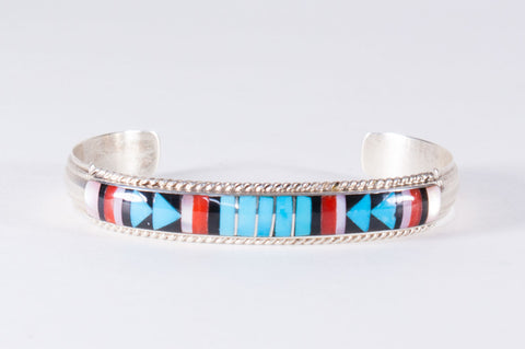 Zuni Multistone Inlay Cuff Bracelet by Rebecca Sheyka - Turquoise Village - 1
