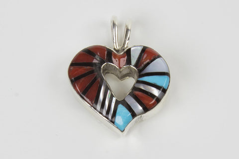 Zuni Multistone Inlay Heart Pendant by Angelena Laathy - Turquoise Village - 1