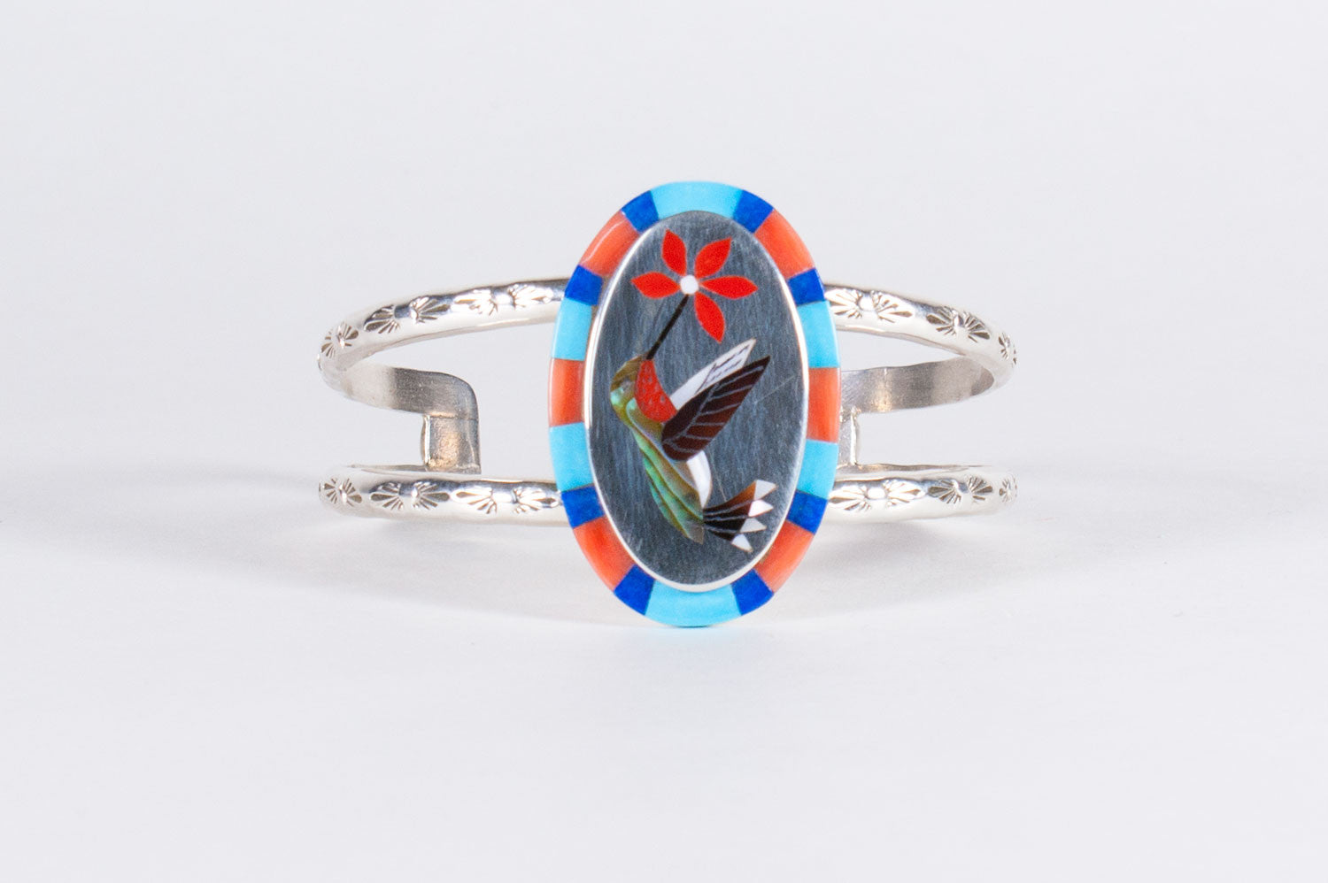 da3ac60c479 Zuni Multistone Inlay Hummingbird Bracelet by Albert and Dolly Banteah -  Turquoise Village - 1 ...