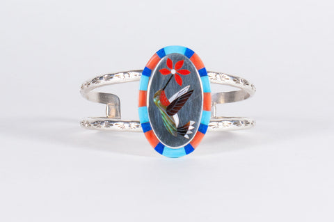 Zuni Multistone Inlay Hummingbird Bracelet by Albert and Dolly Banteah - Turquoise Village - 1