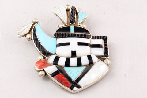 Zuni Multistone Inlay Longhorn Kachina Pin and Pendant by Eldred Martinez - Turquoise Village - 1