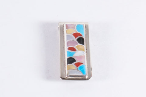 Zuni Multistone Inlay Money Clip by Orena Leekya - Turquoise Village