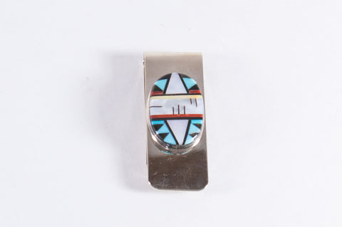 Zuni Multistone Inlay Money Clip by Fernandez Lementino - Turquoise Village