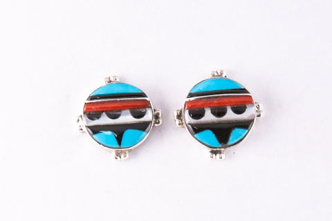 Zuni Multistone Inlay Post Earrings by Virginia Quam - Turquoise Village