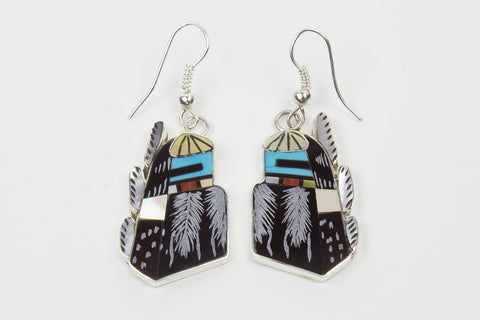 Zuni Multistone Inlay Raindancer Kachina Earrings by Philander Gia - Turquoise Village - 1