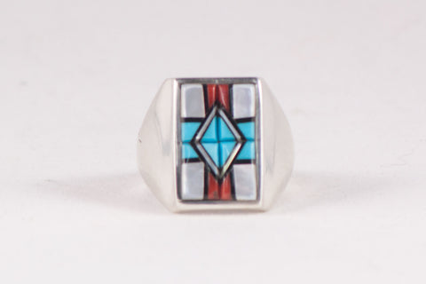 Zuni Multistone Inlay Ring by Yelmo Natachu - Turquoise Village - 1