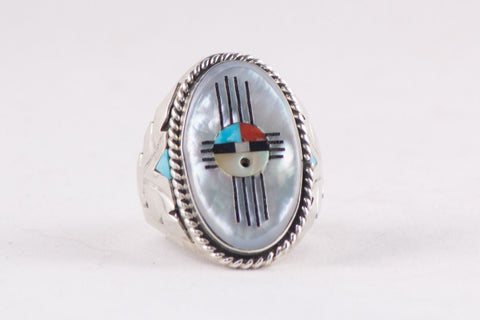 Zuni Multistone Inlay Ring Featuring Sunface by Jeremy Hustito - Turquoise Village - 1