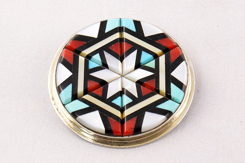 Zuni Multistone Inlay Round Pin by Yelmo Natachu - Turquoise Village - 1