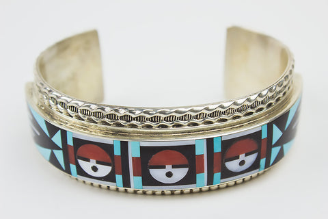 Zuni Inlay Sunface Cuff Bracelet by Rick & Lucy Vacit - Turquoise Village - 1