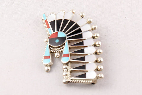 Zuni Multistone Inlay Sunface Pin and Pendant by Fabian Cellicion - Turquoise Village - 1