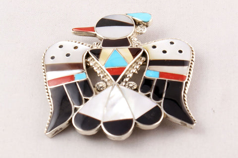 Zuni Multistone Inlay Thunderbird Pin and Pendant by Bobby Shack - Turquoise Village - 1