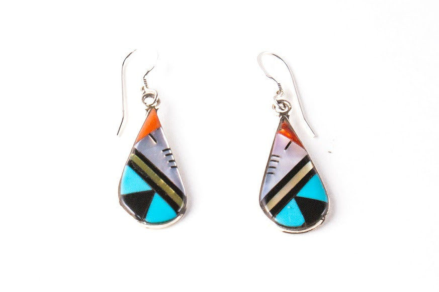 3b852152d Zuni Multistone Inlay Teardrop Earrings by Adrianna Kallestewa - Turquoise  Village