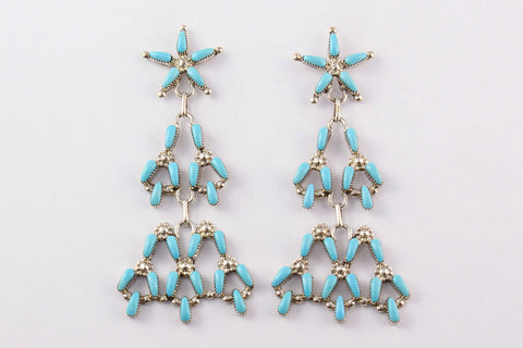 Zuni Needlepoint Turquoise Drop Earrings by Alrick Waikeniwa - Turquoise Village