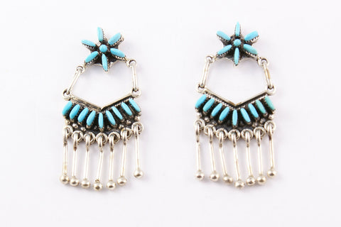 Zuni Needlepoint Turquoise Drop Earrings by Nelson & Milli Unkenstine - Turquoise Village