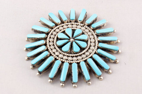 Zuni Needlepoint Turquoise Pin by Arvina Pinto Sandoval - Turquoise Village - 1