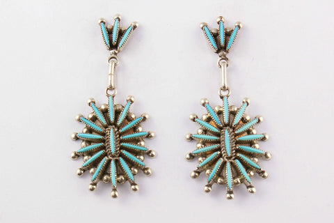 Zuni Needlepoint Turquoise Post Earrings by Lance Waatsa - Turquoise Village