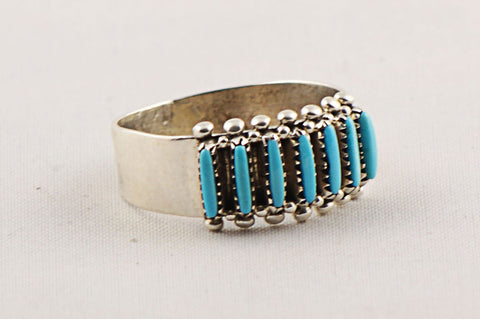 Zuni Needlepoint Turquoise Ring by Gloria Acque - Turquoise Village