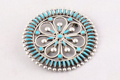 Zuni Needlepoint Turquoise Wheel Pin and Pendant by Vincent Johnson - Turquoise Village - 1
