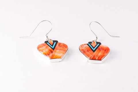 Zuni Orange Spiny Shell Inlay Pottery Earrings by Jason Bobelu - Turquoise Village