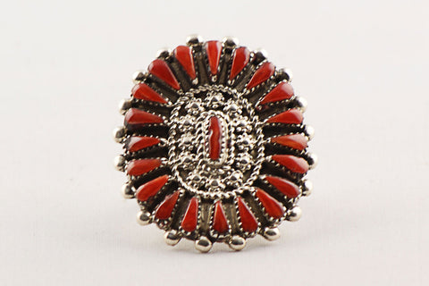 Zuni Petit Point Red Coral Ring by Bernel Natewa - Turquoise Village
