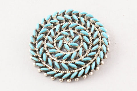 Zuni Petit Point Turquoise Circle Pin and Pendant by Octavius Seoutewa - Turquoise Village - 1