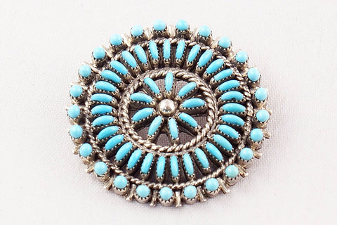 Zuni Snake Eye and Needlepoint Turquoise Circle Pin and Pendant by Connie Seowtewa - Turquoise Village - 1