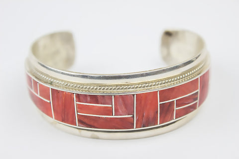 Zuni Channel Inlay Spiny Oyster Shell Cuff Bracelet by Rickel & Glendora Booqua - Turquoise Village - 1