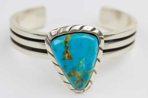 Zuni Blue Gem Turquoise Nugget Cuff Bracelet by Ric Laselute - Turquoise Village - 1